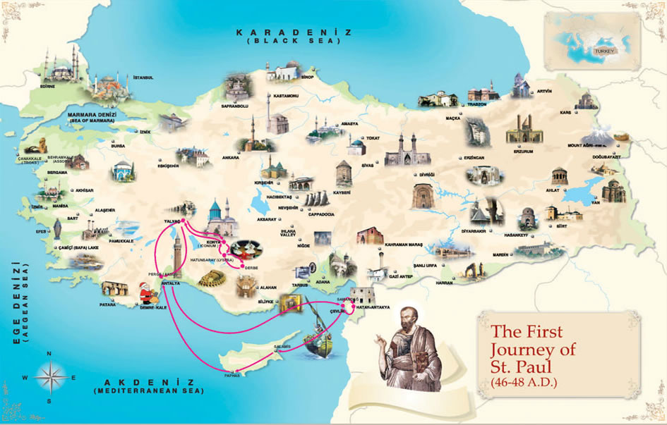 The first Journey of St Paul (46-48 a.d.)